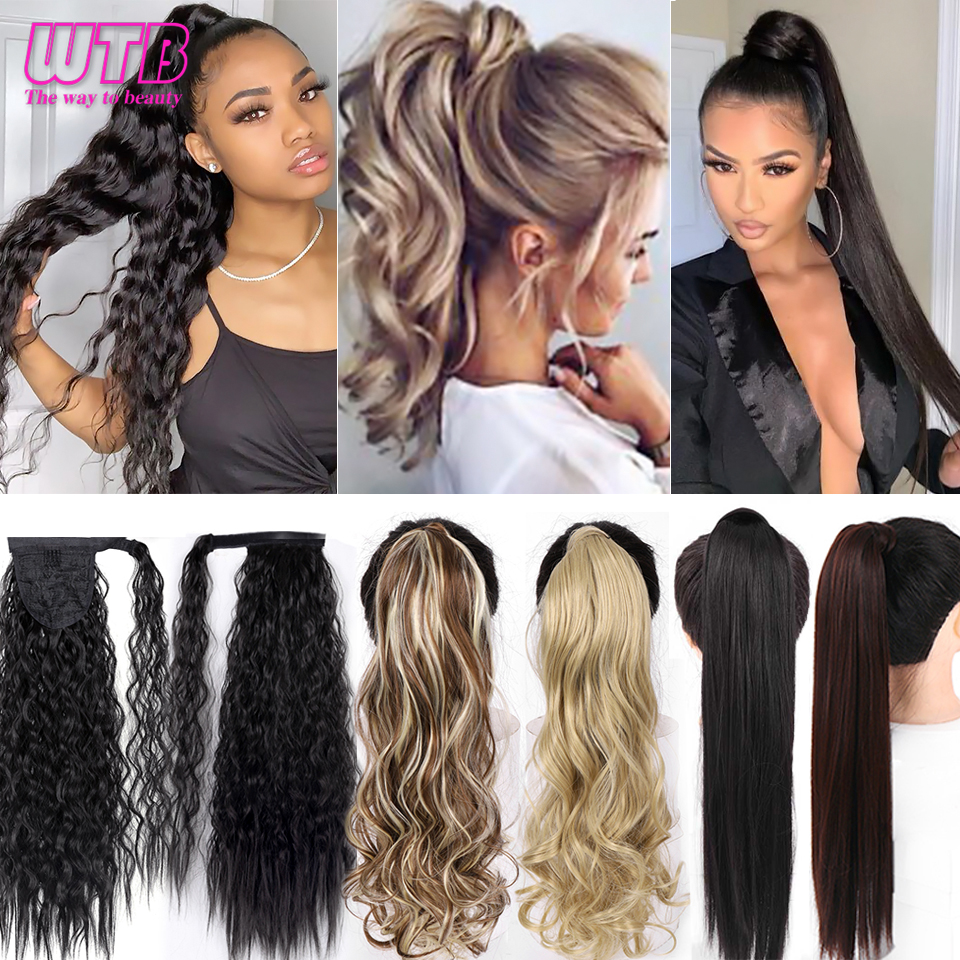 WTB Long Curly Synthetic Wrap Around Ponytail For Women Hair Extension Black Brown High Temperature Fiber Hairpieces