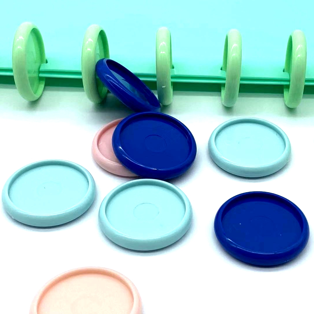 50pcs 30mm Plastic Ring Buckle Mushroom Hole Loose-leaf Notepad Color Plastic Binding Discs Macarons Button Binding Rings