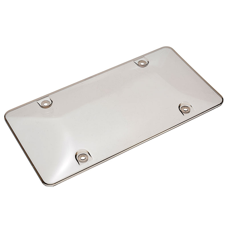 FRONT//REAR 2PCS SMOKE TINTED BUBBLE SHIELD PROTECTOR LICENSE PLATE FRAME COVER
