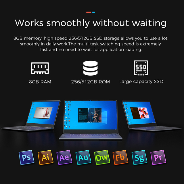 KUU Intel J4115 14.1-inch IPS Screen All Metal Shell Office Notebook 8GB DDR4 RAM 512GB M.2 SSD with type C laptop 3