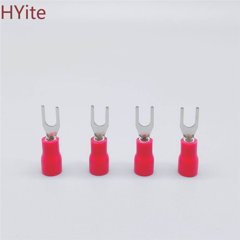 <font><b>SV1.25</b></font>-3 Red Furcate Terminal Cable Wire Connector Insulated Wiring Terminals electrical Lug crimp terminal 100PCS SV1-3 SV image