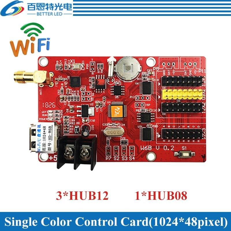 HD-W6B USB+Wifi 3*HUB12 & 1*HUB08 Single Color(1024*48 Pixels) & Dual Color(512*48 Pixels) LED Display Control Card