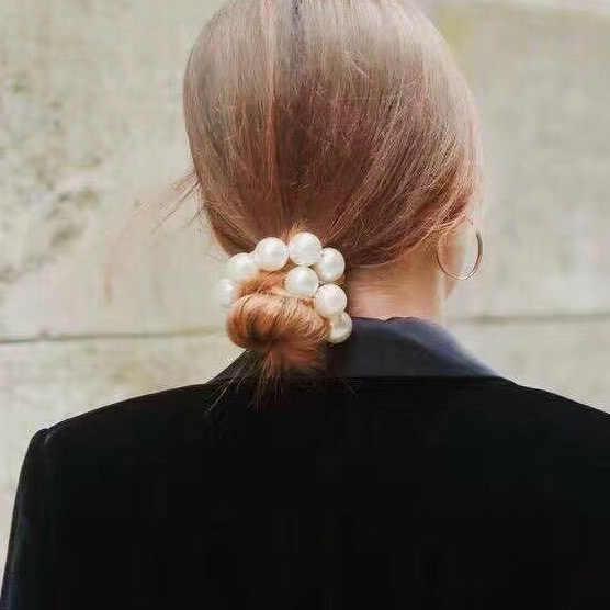 Элегантная большая имитация жемчуга волос Веревка Девушка эластичные женские обручи хвост держатель жемчужные бусины волосы на кольцевом креплении аксессуары