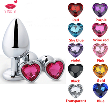 Anal plug Stainless Steel Anal Beads Crystal Jewelry Heart Butt Plug Stimulator masturbator dildo for anal Adult Toys