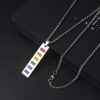 Wukaka Fashion Rainbow Gay Pride LGBT Necklace Windmill Square Girl Boy Symbol Stainless Steel Necklaces Men Jewelry 12