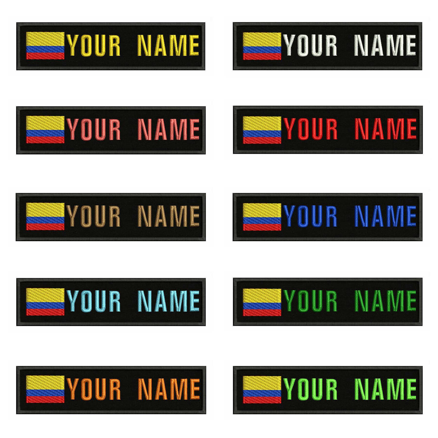 Colombia Bandiera Del Ricamo Nome Personalizzato Testo Patch Strisce distintivo di Ferro On O Cucire On O Velcro Supporto Toppe e Stemmi Per I Vestiti zaino