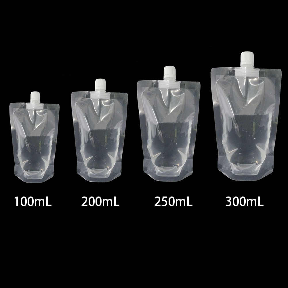 100 Pcs Stand Up Transparent Disposable Durable Juice Packaging Bag Milk Sealed Drink Pouch With Nozzle Coffee Beverage Liquid