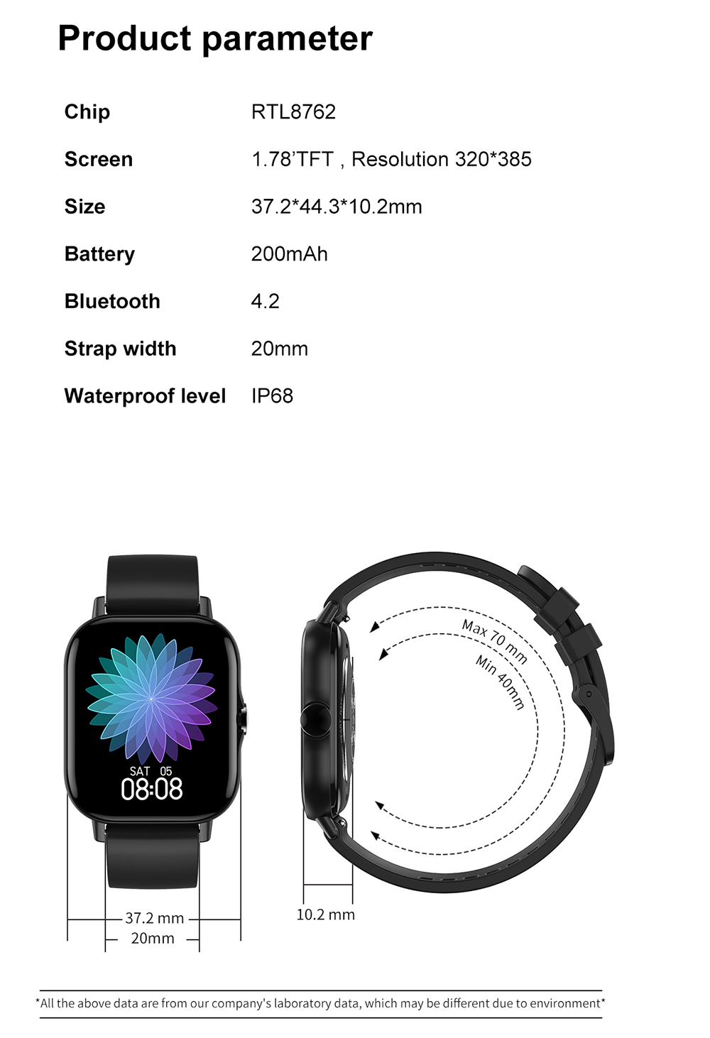 Hcd8ae0c1a6fc4873b1e61dc80622611eK For Xiaomi IOS Apple Phone 1.78inch Smart Watch Android Men IP68 Waterproof Full Touch Woman Smartwatch Women 2021 Answer Call
