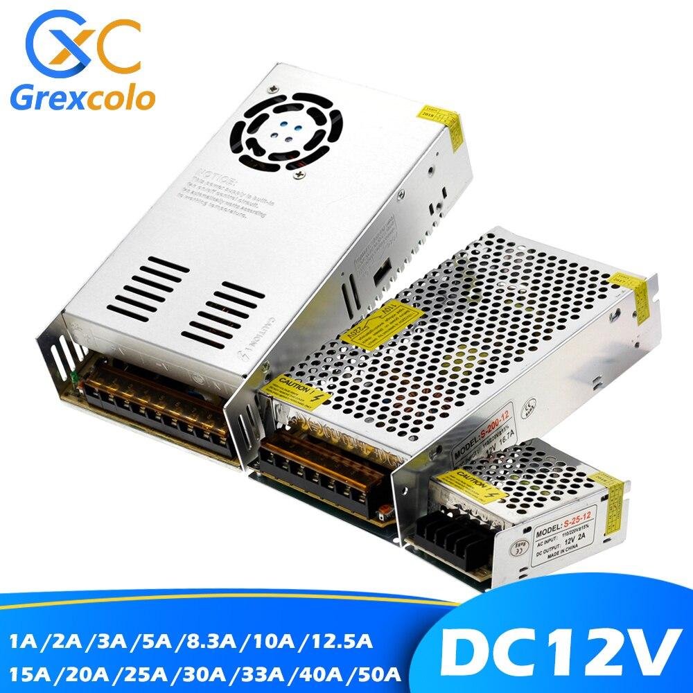 Lighting Transformer DC12V LED Strip Driver 1A 2A 5A 10A 15A 20A 30A 50A Switching Mode Power Supply.