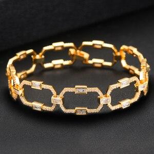 Image 3 - GODKI luksusowe kwadratowe ogniwo łańcucha bransoletki bransoletki Cubic cyrkon CZ Vintage czeski mankietów bransoletki dla kobiet biżuteria Femme