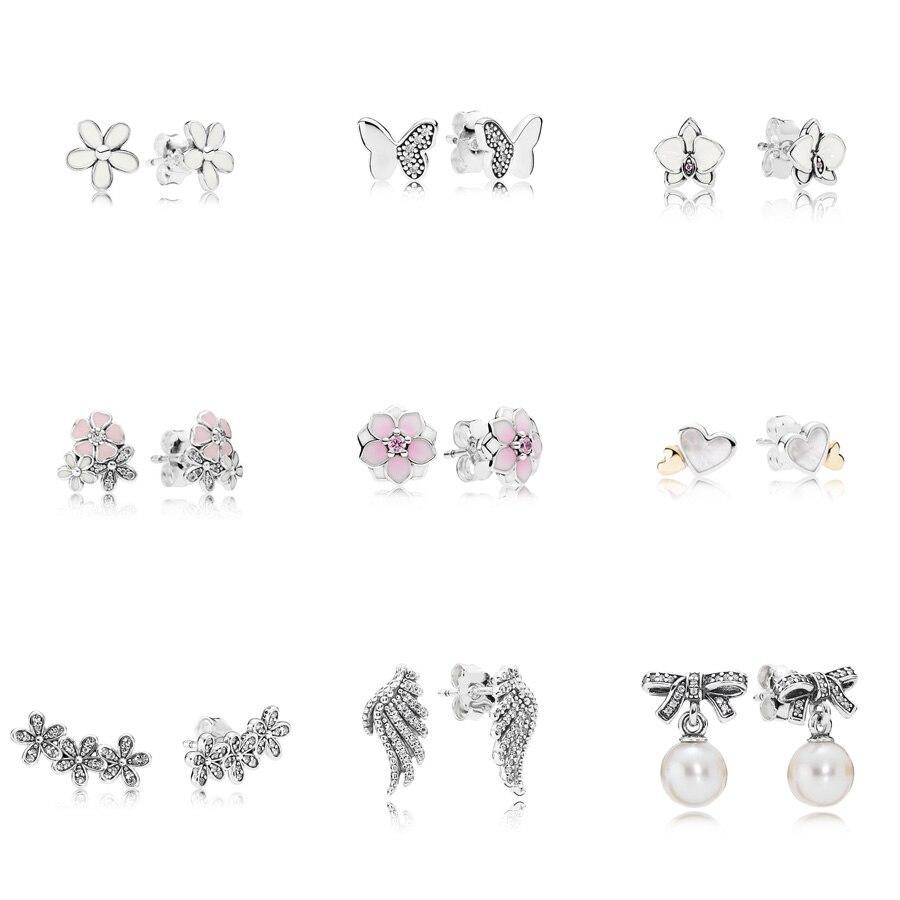 9 Style 925 Silver Color Earrings Flower Butterfly Heart Wings Pearl Earrings For Women Wedding Party Jewelry Gift