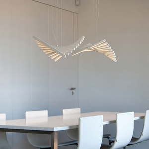 Image 4 - Modern LED Chandelier lighting Nordic Black/White Office Pendant lamps living room home hanging lights dining room Bar fixtures