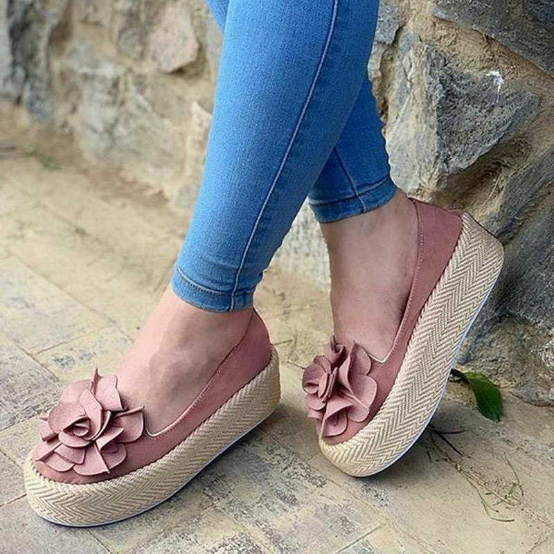 HEFLASHOR Flats Women Shoes Sneakers Platform Ladies Loafers Slip-On Floral Suede Casual