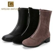 KATELVADI New Zipper Front Winter Boots Women Elegant Square High Heels Round Toe Warm Plush Insole Ankle Boots Shoes  K-549 недорого