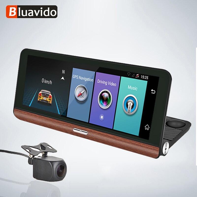 Bluavido 8 IPS 4G Android WiFi kamera samochodowa GPS ADAS FHD 1080P rejestrator samochodowy kamera wideo rejestrator z dwoma obiektywami na żywo zdalnego monitorowania