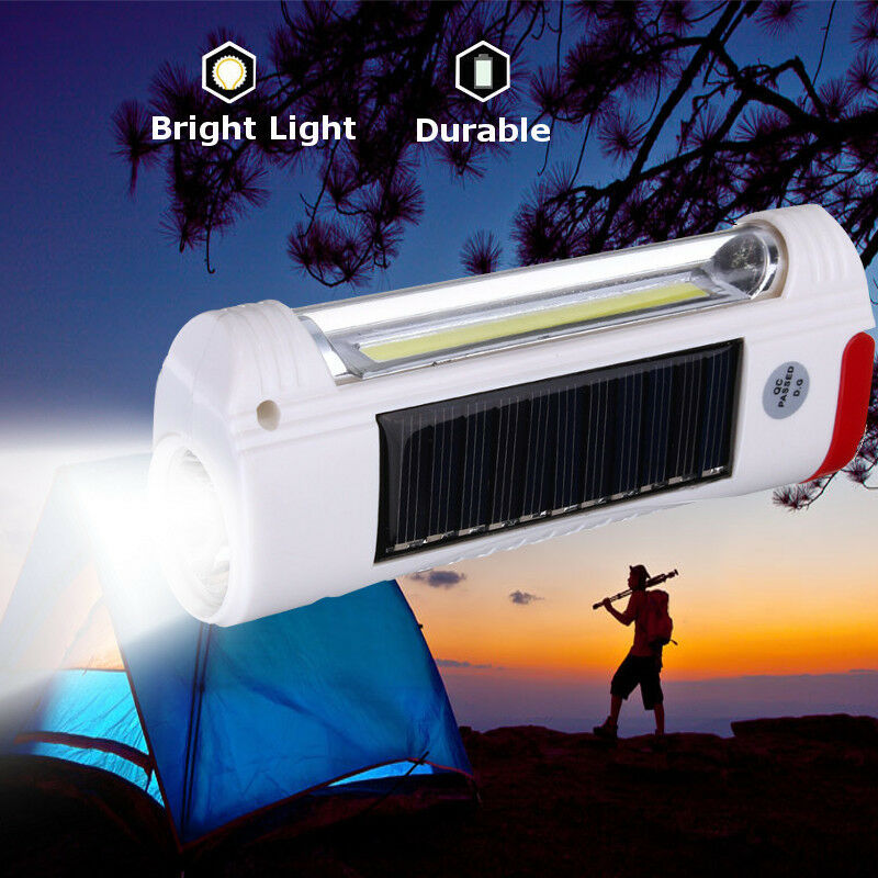 Solar Power/USB Rechargeable LED Flashlight Camping Hiking Light Lantern Lamp