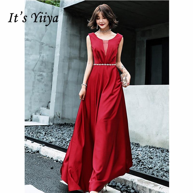 It's Yiiya Evening Dress 2019 Sleeveless O-Neck Burgundy A-Line Dresses Elegant Backless Lace Up Sashes Floor Length Dress E1321