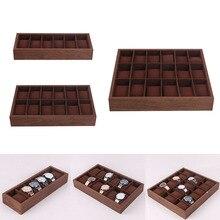 Drewniane pudełko na zegarek taca wystawiennicza z poduszką organizer biżuterii pojemnik 6/12/18 gniazdo zegarka dla spinki do mankietów spinki do mankietów kolczyki bransoletki