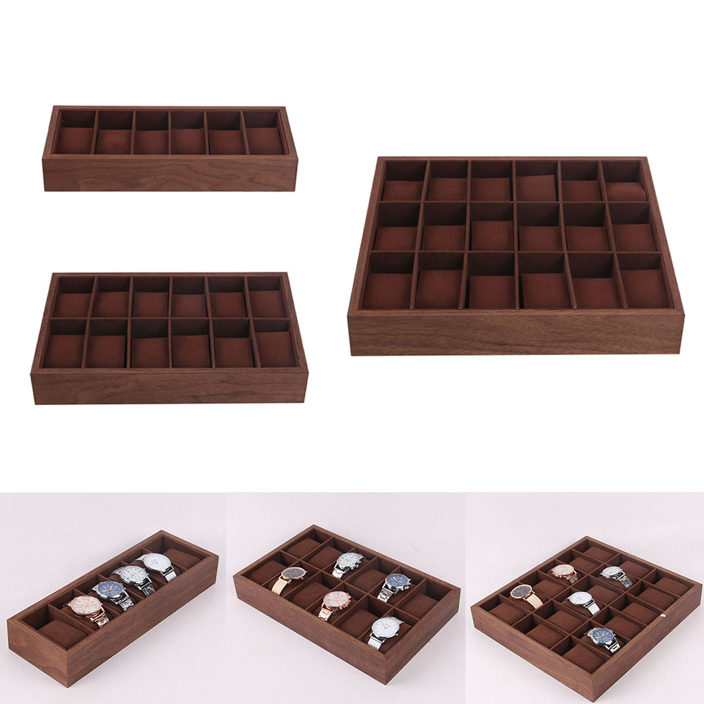 Caixa de Relógio de Madeira Exibição com Travesseiro Case para Manguito Bandeja Jóias Organizador Recipiente – 12 18 Slot Assista Links Brincos Pulseiras 6