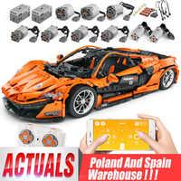 DHL 20087 MOC-16915 McLaren P1 prędkość samochodu zestaw App RC Technic Motor samochodowe klocki budowlane cegły dzieci kompatybilne zabawki