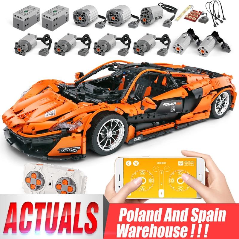 Dhl 20087 o MOC 16915 mclaren p1 velocidade carro conjunto app rc técnica motor brinquedos blocos de construção tijolos crianças brinquedos presentes natal