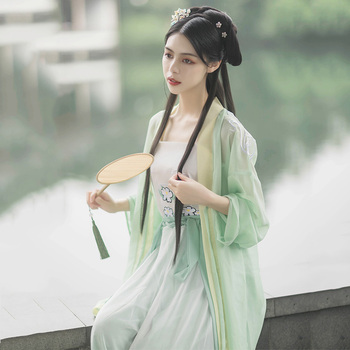 Green Classical Dance Costume Embroidery Hanfu Women Fairy Dress Festival Outfit Singer Rave Performance Clothes 3 Pcs DF1337