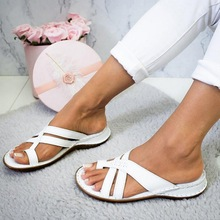 Women Low Heel Slide Sandals Summer Slippers Beach Shoes Woman Flat Sandals Women Slippers Rome Retro Casual Open Toe Shoes 2020