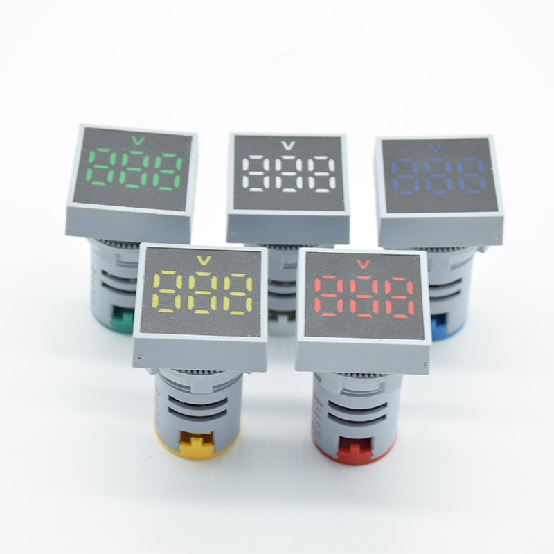 22mm AC 12-500V Voltmeter Square Panel LED Digital Voltage Meter Indicator Light 60-500V Red Green Yellow White Blue 22MM Square