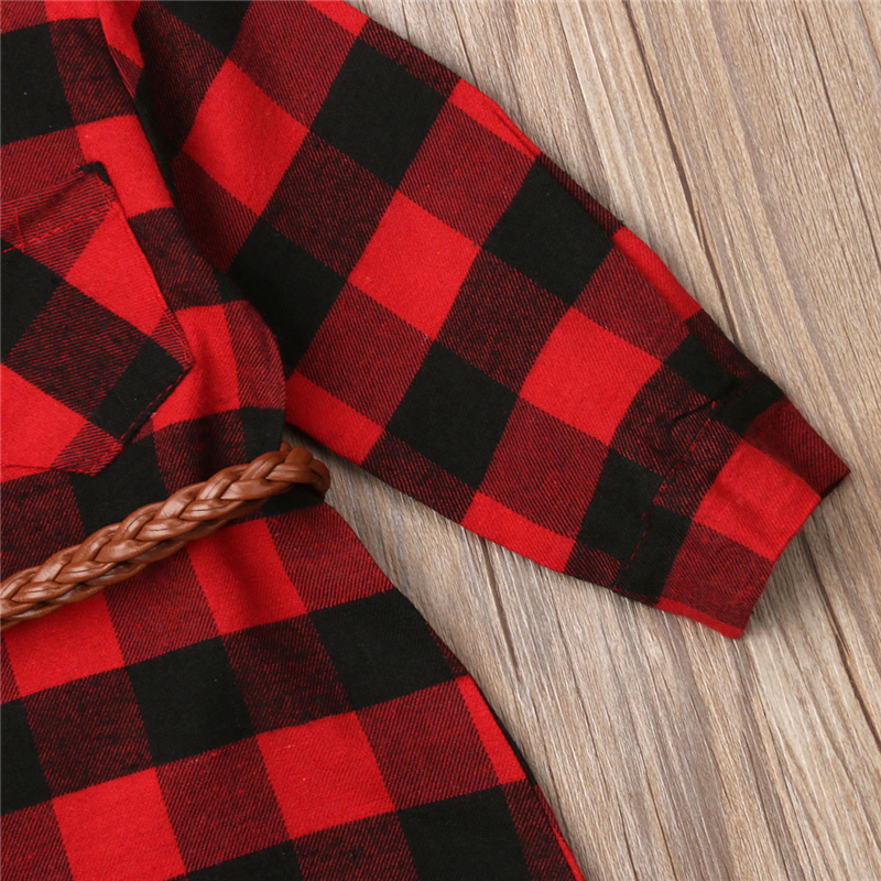 0-5T Christmas Toddler Newborn Kids Baby Girls Dress Red Plaid Cotton Princess Party Long Sleeve Dress Clothes Girl Winter Dress 3