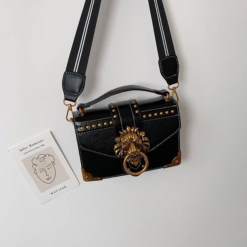 Hcd8ba2739cf0469aafa207fe9dba2b60f - Female Fashion Handbags Popular Girls Crossbody Bags Totes Woman Metal Lion Head  Shoulder Purse Mini Square Messenger Bag