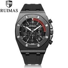 RUIMAS Chronograph Mannen Sport Horloge Mode Siliconen Militaire Horloges Relogio Masculino Quartz Horloge Klok Mannen