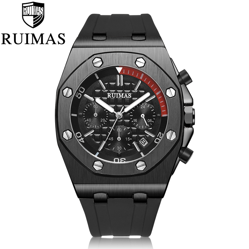 RUIMAS Chronograph Men Sport Watch Fashion Silicone Army Military Watches Relogio Masculino Quartz Wrist Watch Clock Men-in Quartz Watches from Watches