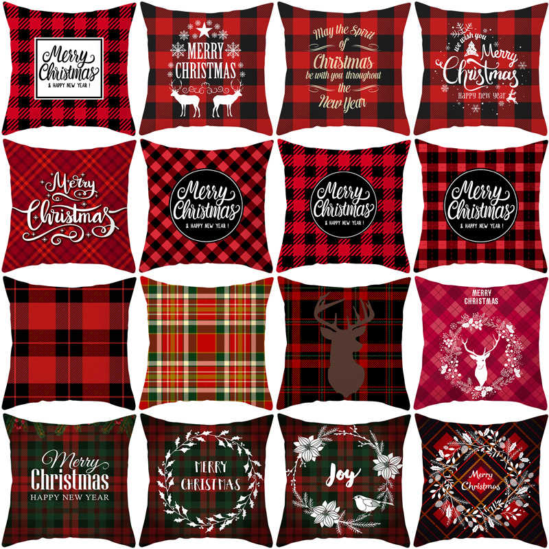 2019 New Merry Christmas Pillow Cover Linen Santa Printing Pillow Cases Sofa Cushion Cover Home Decoration Tpr215