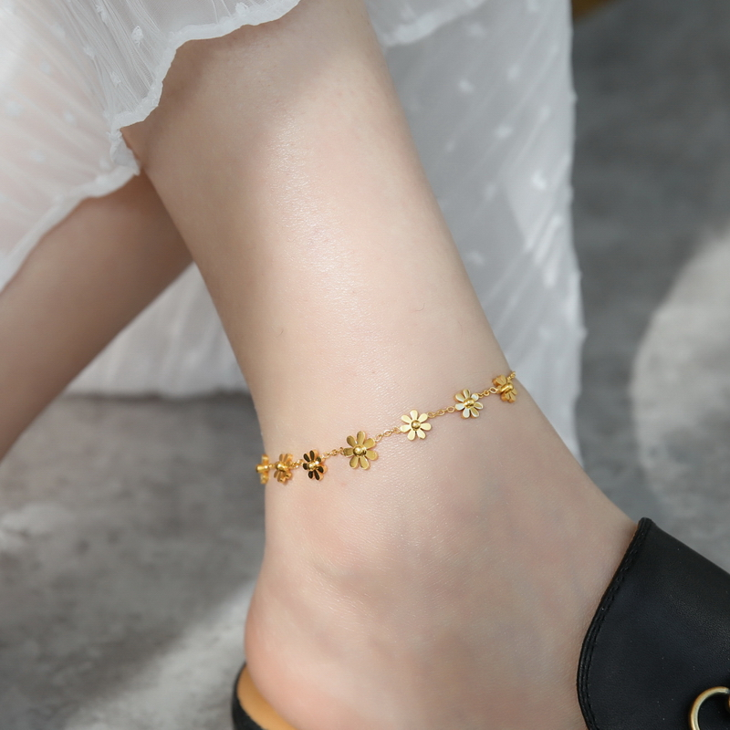 YUN RUO Yellow Gold Color Elegant Sunflower Daisy Anklet Fashion Woman Gift 316 Titanium Steel Jewelry Never Fade hypoallergenic