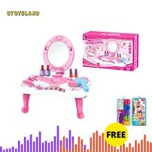 26Pcs Дети ролевые игры игрушечный туалетный столик девушка Косметика Playset+ DIY ручной работы бисера обучающая игрушка набор бисер Playset-синий