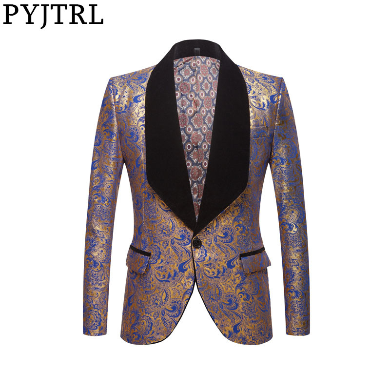 PYJTRL Men Fashion Black Blue Red Gold Floral Pattern Print Shawl Lapel Slim Blazer Wedding Groom Prom Dress Suit Jacket Costume