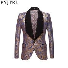 PYJTRL גברים אופנה שחור כחול אדום זהב פרחוני דפוס הדפסת צעיף דש Slim בלייזר חתונה חתן לנשף שמלת חליפת מעיל תלבושות