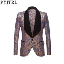 PYJTRL moda męska czarny niebieski czerwony złota z kwiatowym wzorem wzór wydruku szal Lapel marynarka slim Wedding Groom sukienka na studniówkę garnitur kurtka kostium