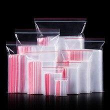 100 unidades/pacote 17 tamanho mini zíper transparente saco pequeno plástico jóias medicina saco reutilizável zíper embalagem saco de armazenamento