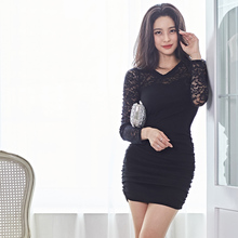 2019 autumn and winter new Korean fashion temperament was thin lace stitching sexy base dress