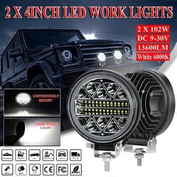 цена на 2Pcs 4 inch 204W 13600LM LED Work Light Offroad Car 4WD Truck Tractor Boat Trailer 4x4 ATV SUV 12 24V Spot Flood LED Driving Li