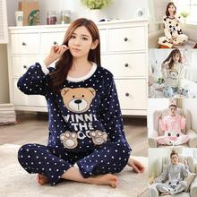Women Pajamas Sets Cartoon Print Coral Velvet Thickened Flannel Home Suit for Autumn Winter Sleepwear