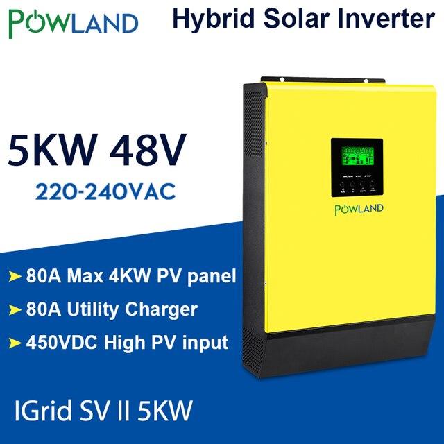 היברידי שמש מהפך 5000W 48V 220V גבוהה PV קלט 450Vdc MPPT שמש מטען 80A סוללה מטען רשת קשור מהפך