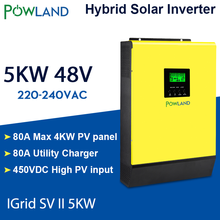 Hybrydowy inwerter słoneczny 5000W 48V 220V wysokie wejście PV 450Vdc ładowarka słoneczna MPPT 80A ładowarka do akumulatorów siatka wiązana inwerter