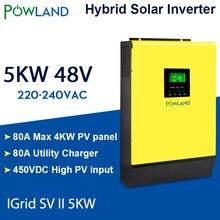 Onduleur solaire hybride 5000W 48V 220V haute entrée PV 450Vdc MPPT chargeur solaire 80A chargeur de batterie onduleur lié à la grille