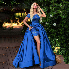 LORIE Off the Shoulder Royal Blue Formal  Evening Dresses Mermaid Lace Satin Graduation Prom Party Gown with Split Plus Size