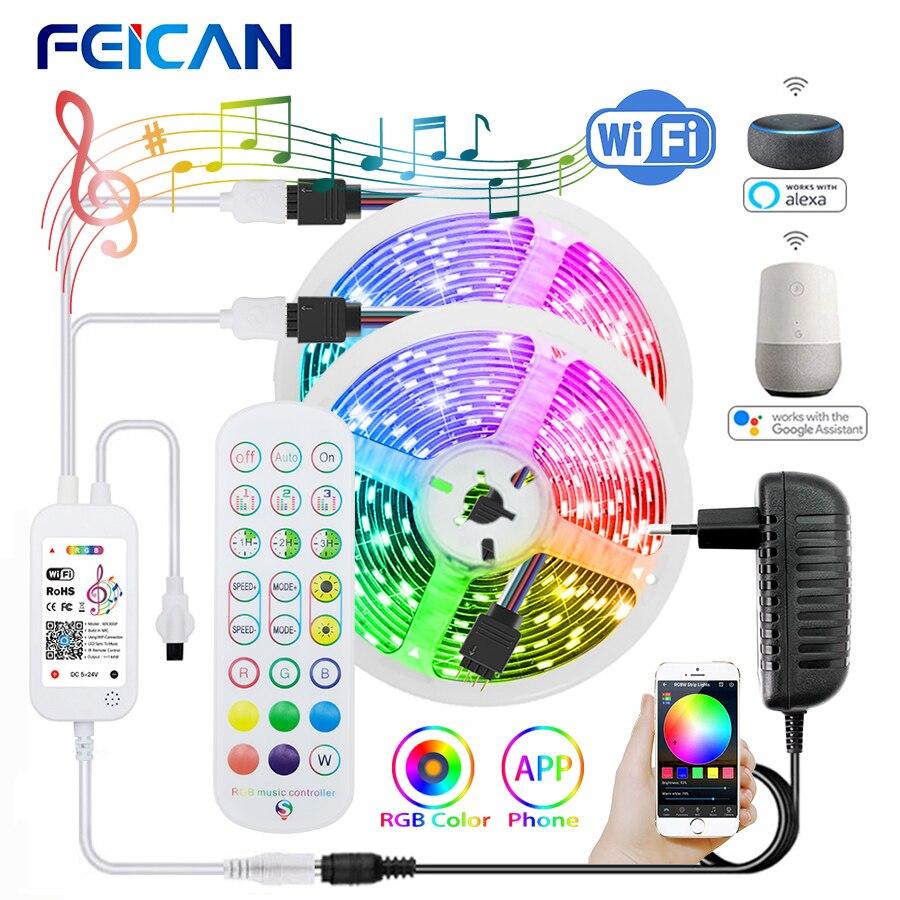 WiFi Светодиодная лента 5 м 20 м 30 м 12 В RGB лента 5050 18 светодиодов/м музыка Sycn работает с Alexa Гибкая полоса светодиодные фонари для украшения