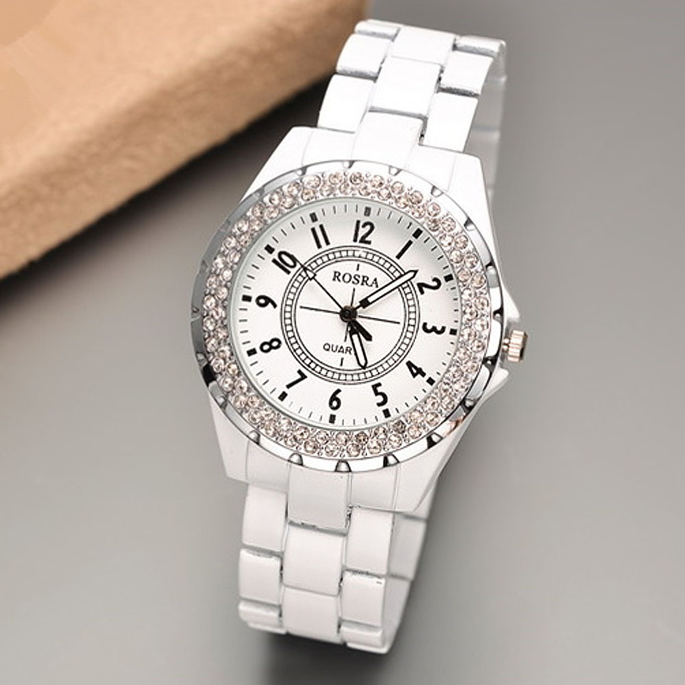 2019 Luxury Women Watches Rosra Bling Rhinestone White Watches Women Ladies Watches Female Watch Dames Horloges Montre Femme