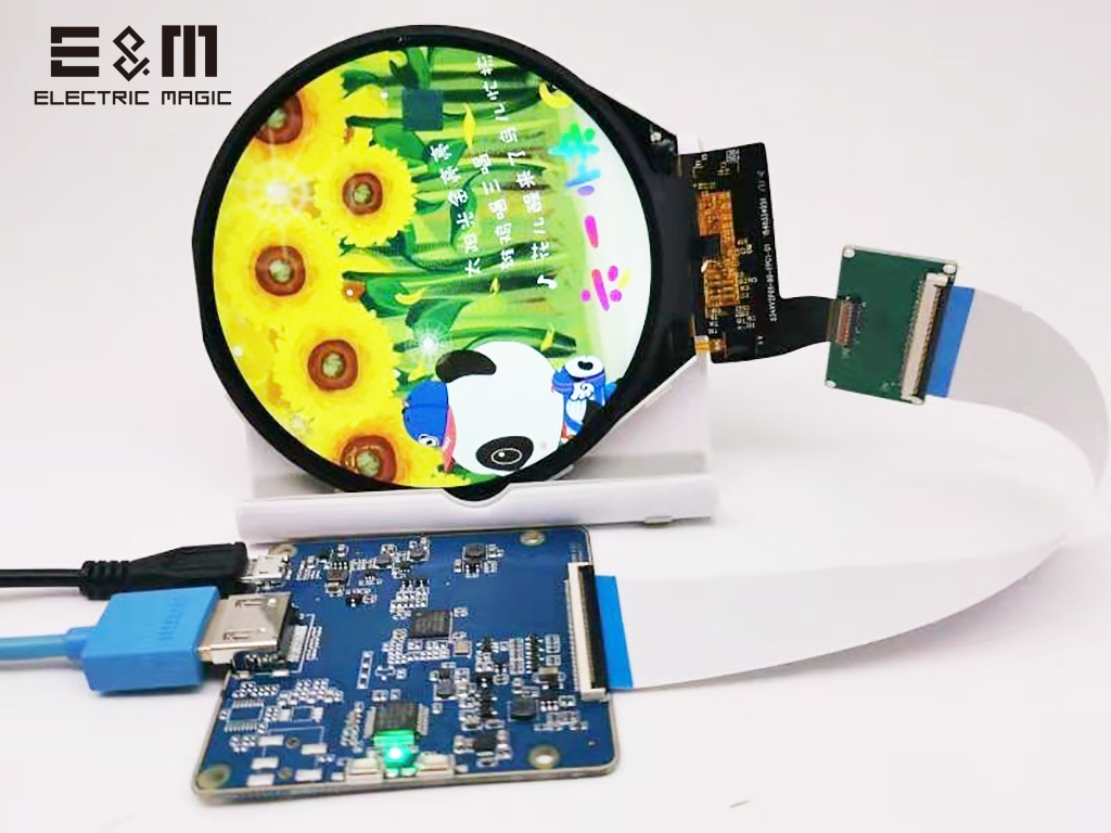 3.4 <font><b>Inch</b></font> IPS Round Circular <font><b>LCD</b></font> <font><b>Display</b></font> 800*800 Screen With Touch Panel Controller Board For Raspberry Pi Smart Watch Monitor image