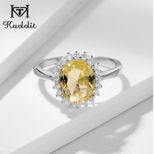 Kuololit Yellow Diaspore Gemstone Ring for Women Oval Citrine Gemstone sterling silver 925 jewelry Ring for Wedding Fine Jewelry